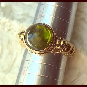 Lia Sophia gold ring with green stone